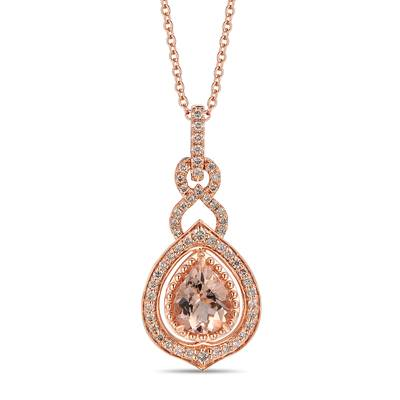 14K Strawberry Gold® Peach Morganite™ 1  3/4 cts. Pendant with Nude Diamonds™ 5/8 cts. | YRMH 22A