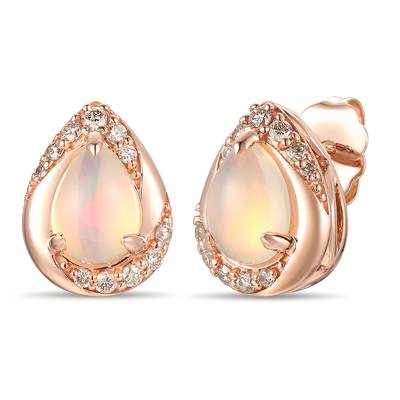 14K Strawberry Gold® Neopolitan Opal™ 7/8 cts. Earrings with Nude Diamonds™ 1/5 cts. | YRMJ 15A