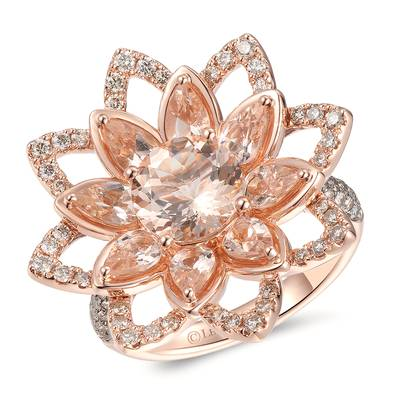 14K Strawberry Gold® Peach Morganite™ 2  3/4 cts. Ring with Chocolate Diamonds® 3/8 cts., Nude Diamonds™ 3/8 cts. | YRMM 8B