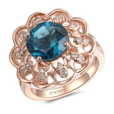 14K Strawberry Gold® Deep Sea Blue Topaz™ 4 cts. Ring with Nude Diamonds™ 1/4 cts. | YRMS 9C