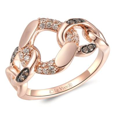 14K Strawberry Gold® Ring with Nude Diamonds™ 1/4 cts., Chocolate Diamonds® 1/15 cts. | YRMT 3C