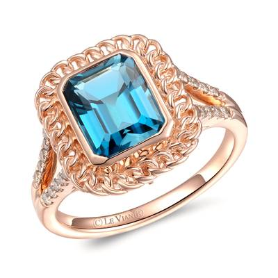 14K Strawberry Gold® Deep Sea Blue Topaz™ 2  3/4 cts. Ring with Nude Diamonds™ 1/5 cts. | YRMW 1D