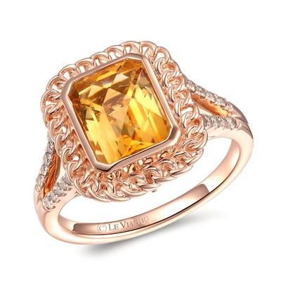 14K Strawberry Gold® Cinnamon Citrine® 2 cts. Ring with Nude Diamonds™ 1/5 cts. | YRMW 4D