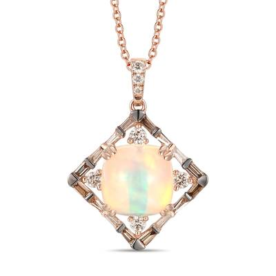 14K Strawberry Gold® Neopolitan Opal™ 2  3/8 cts. Pendant with Nude Diamonds™ 1/3 cts., Chocolate Diamonds® 1/5 cts. | YRMX 12D