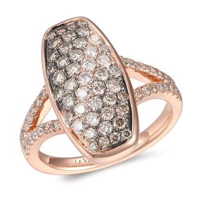 14K Strawberry Gold® Ring with Chocolate Ombré Diamonds® 1 cts., Vanilla Diamonds® 1/6 cts. | YRNB 15E