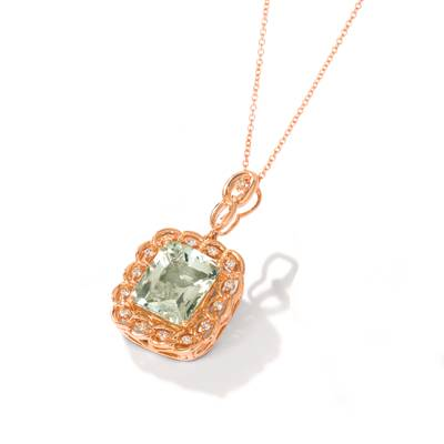 14K Strawberry Gold® Mint Julep Quartz™ 5  1/2 cts. Pendant with Nude Diamonds™ 1/5 cts. | YRNJ 20
