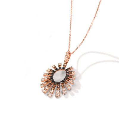 14K Strawberry Gold® Pendant with Nude Diamonds™ 3/4 cts., Chocolate Diamonds® 1/2 cts., Blackberry Diamonds® 1/3 cts. | YRNN 100
