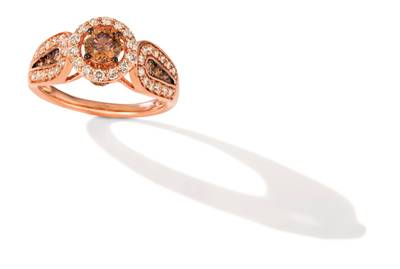 14K Strawberry Gold® Ring with Chocolate Diamonds® 5/8 cts., Nude Diamonds™ 1/2 cts. | YRNO 1