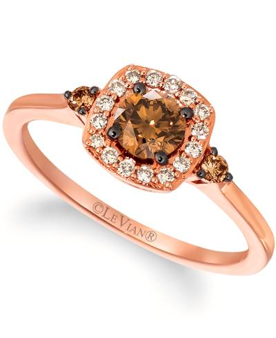 14K Strawberry Gold® Ring with Chocolate Diamonds® 1/2 cts., Nude Diamonds™ 1/8 cts. | YRNO 5