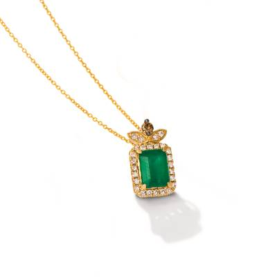 14K Honey Gold™ New Emerald 1  1/5 cts. Pendant with Chocolate Diamonds® 1/20 cts., Nude Diamonds™ 1/4 cts. | YRNP 10
