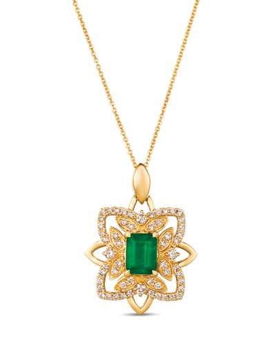 14K Honey Gold™ New Emerald 1  1/5 cts. Pendant with Nude Diamonds™ 3/4 cts. | YRNP 16