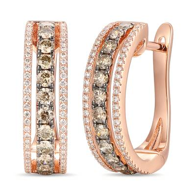 14K Strawberry Gold® Earrings with Chocolate Diamonds® 3/4 cts., Vanilla Diamonds® 1/4 cts. | YRNP 17
