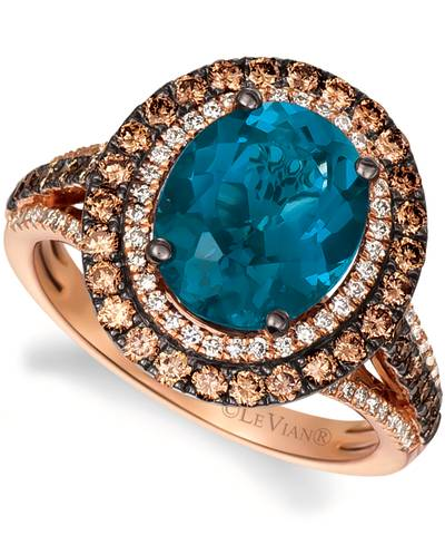 14K Strawberry Gold® Deep Sea Blue Topaz™ 4 cts. Ring with Chocolate Diamonds® 5/8 cts., Nude Diamonds™ 1/4 cts. | YRNP 2