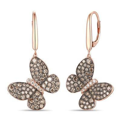 14K Strawberry Gold® Earrings with Chocolate Diamonds® 1  3/4 cts., Vanilla Diamonds® 1/10 cts. | YRNP 20