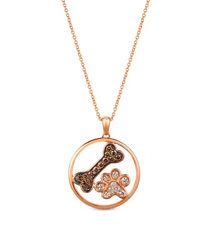 14K Strawberry Gold® Pendant with Nude Diamonds™ 1/8 cts., Chocolate Diamonds® 1/4 cts. | YRNP 25