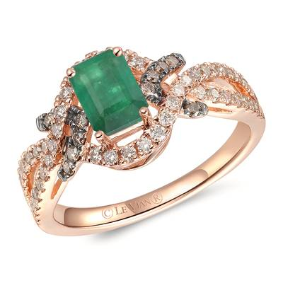 14K Strawberry Gold® New Emerald 1/3 cts. Ring with Nude Diamonds™ 1/3 cts., Chocolate Diamonds® 1/10 cts. | YRNP 5