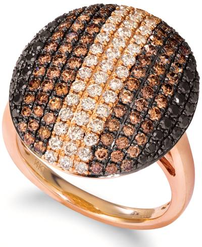 14K Strawberry Gold® Ring with Nude Diamonds™ 5/8 cts., Blackberry Diamonds® 3/8 cts., Chocolate Diamonds® 1 cts. | YRNP 61
