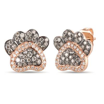 14K Strawberry Gold® Earrings with Chocolate Diamonds® 3/8 cts., Vanilla Diamonds® 1/10 cts. | YRNV 1