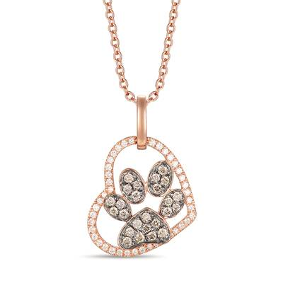 14K Strawberry Gold® Pendant with Chocolate Diamonds® 1/5 cts., Vanilla Diamonds® 1/8 cts. | YRNV 3