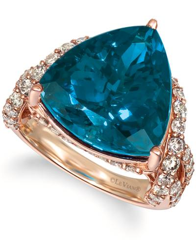 14K Strawberry Gold® Deep Sea Blue Topaz™ 9 cts. Ring with Nude Diamonds™ 1  3/8 cts. | YROA 10