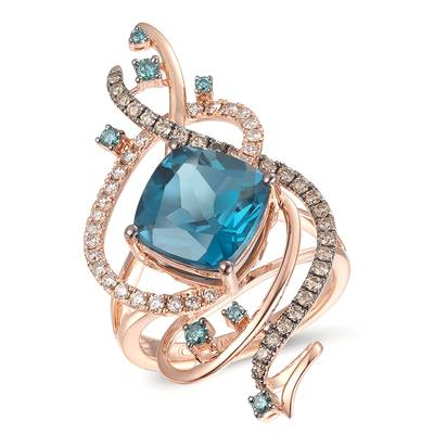 14K Strawberry Gold® Deep Sea Blue Topaz™ 4  1/2 cts. Ring with Vanilla Diamonds® 1/4 cts., Blueberry Diamonds® 1/8 cts., Chocolate Diamonds® 1/3 cts. | YROE 5