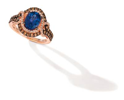 14K Strawberry Gold® Blueberry Tanzanite® 1  1/2 cts. Ring with Chocolate Diamonds® 1/2 cts., Vanilla Diamonds® 1/5 cts. | YROH 17