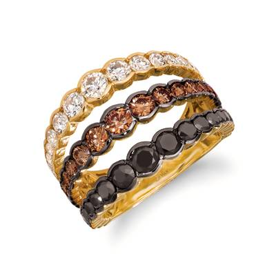 14K Honey Gold™ Ring with Blackberry Diamonds® 1 cts., Chocolate Diamonds® 7/8 cts., Nude Diamonds™ 7/8 cts. | YROH 27