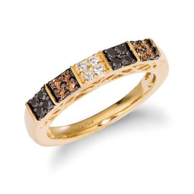 14K Honey Gold™ Ring with Blackberry Diamonds® 1/8 cts., Chocolate Diamonds® 1/8 cts., Nude Diamonds™ 1/20 cts. | YROH 30