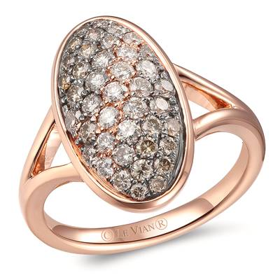 14K Strawberry Gold® Ring with Chocolate Ombré Diamonds® 3/4 cts., Vanilla Diamonds® 1/6 cts. | YROT 14