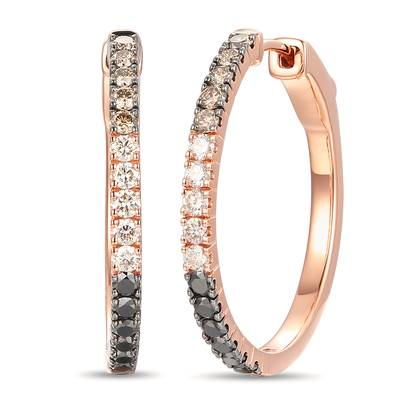 14K Strawberry Gold® Earrings with Blackberry Diamonds® 3/8 cts., Chocolate Diamonds® 1/3 cts., Nude Diamonds™ 1/3 cts. | YROT 17