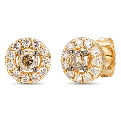 14K Honey Gold™ Earrings with Chocolate Diamonds® 1/4 cts., Nude Diamonds™ 1/4 cts. | YROT 22