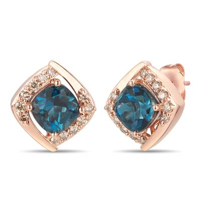 14K Strawberry Gold® Deep Sea Blue Topaz™ 2  1/3 cts. Earrings with Nude Diamonds™ 1/4 cts. | YROT 23