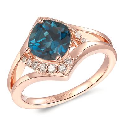 14K Strawberry Gold® Deep Sea Blue Topaz™ 1  7/8 cts. Ring with Nude Diamonds™ 1/5 cts. | YROT 25