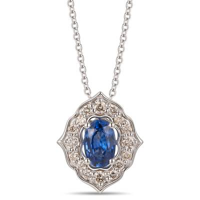 14K Vanilla Gold® Blueberry Sapphire™ 1/2 cts. Pendant with Nude Diamonds™ 1/5 cts. | YROT 33