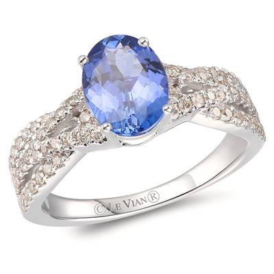 14K Vanilla Gold® Blueberry Tanzanite® 1 cts. Ring with Nude Diamonds™ 3/8 cts. | YROT 36