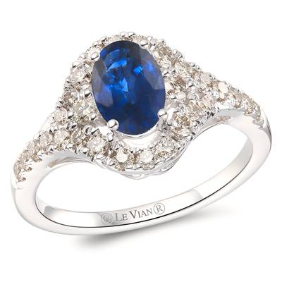 14K Vanilla Gold® Cornflower Ceylon Sapphire™ 3/4 cts. Ring with Nude Diamonds™ 1/2 cts. | YROT 9