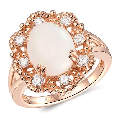14K Strawberry Gold® Neopolitan Opal™ 1  7/8 cts. Ring with Vanilla Diamonds® 1/3 cts. | YROX 16