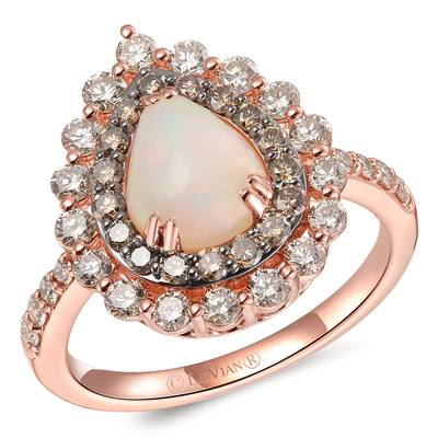 14K Strawberry Gold® Neopolitan Opal™ 7/8 cts. Ring with Nude Diamonds™ 3/4 cts., Chocolate Diamonds® 1/3 cts. | YRPE 75