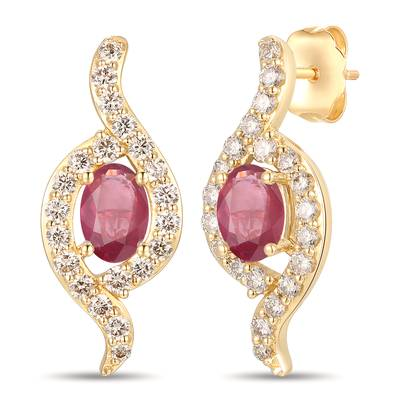 14K Honey Gold™ Passion Ruby™ 7/8 cts. Earrings with Nude Diamonds™ 3/4 cts. | YRPF 28