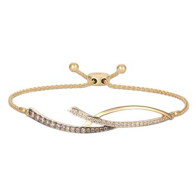 14K Honey Gold™ Bolo Bracelet with Chocolate Diamonds® 1/3 cts., Vanilla Diamonds® 1/5 cts. | YRPF 46