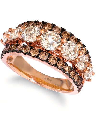 14K Strawberry Gold® Ring with Nude Diamonds™ 2 cts., Chocolate Diamonds® 1 cts. | YRPF 59