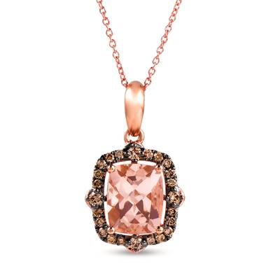 14K Strawberry Gold® Peach Morganite™ 2  1/6 cts. Pendant with Chocolate Diamonds® 1/3 cts. | YRPF 75