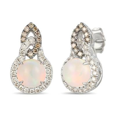14K Vanilla Gold® Neopolitan Opal™ 1  3/8 cts. Earrings with Chocolate Diamonds® 1/5 cts., Nude Diamonds™ 3/8 cts. | YRPN 34