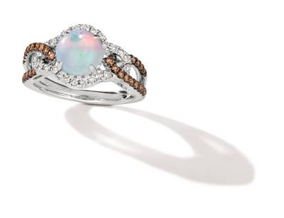 14K Vanilla Gold® Neopolitan Opal™ 1 cts. Ring with Chocolate Diamonds® 1/4 cts., Nude Diamonds™ 1/4 cts. | YRPN 36