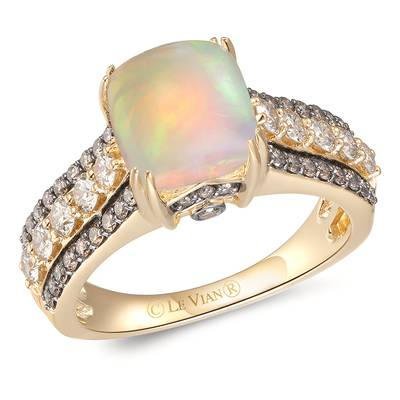 14K Honey Gold™ Neopolitan Opal™ 1  1/4 cts. Ring with Nude Diamonds™ 1/2 cts., Chocolate Diamonds® 3/8 cts. | YRPN 37