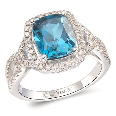 14K Vanilla Gold® Deep Sea Blue Topaz™ 3 cts. Ring with Nude Diamonds™ 1/2 cts. | YRPN 47