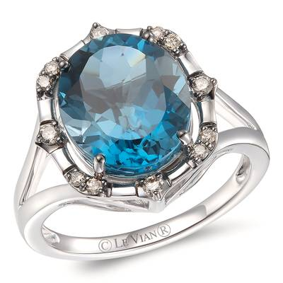 14K Vanilla Gold® Deep Sea Blue Topaz™ 5  3/4 cts. Ring with Chocolate Diamonds® 1/8 cts. | YRPN 51