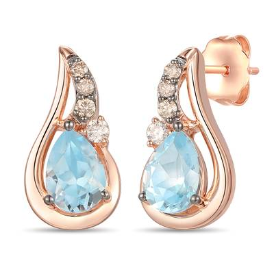 14K Strawberry Gold® Blue Topaz 1  5/8 cts. Earrings with Chocolate Diamonds® 1/10 cts., Nude Diamonds™ 1/20 cts. | YRPN 55