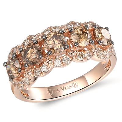 14K Strawberry Gold® Ring with Chocolate Diamonds® 1  1/6 cts., Nude Diamonds™ 3/8 cts. | YRPN 61