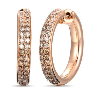 14K Strawberry Gold® Earrings with Chocolate Ombré Diamonds® 7/8 cts. | YRPO 26